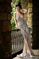 red beaded mermaid evening dresses 도매-사용자 정의 만든 새로운 파란색 이브닝 드레스 럭셔리 보석 모조 다이아몬드 쉬어 보석 코르셋 인어 바닥 길이 레드 카펫 연예인 가운
