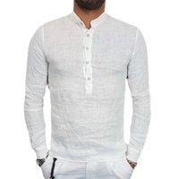 erkekler için keten modası toptan satış-Erkekler'S Gömlekler Retro V-Yaka Japonya Stili Pamuk Keten Düğme Tops Gömlek Uzun Kollu Casual Yaz New Fashion Tops