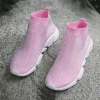 meia calça sola venda por atacado-Sapatilhas de meias elásticas com strass mulit cor sapatos casuais em uma sola plana com strass artesanais sapatos confortáveis das mulheres
