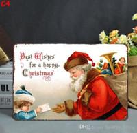 latas de navidad al por mayor-Navidad Vintage Carteles de chapa de metal para decoración de pared Papá Noel Navidad Arte de pared Pinturas de hierro Carteles de chapa Estaño Pub Bar Garaje Decoración del hogar 111