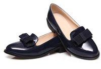 zapatos de tacón bajo bowknot mujeres al por mayor-Bowknot 2018 Calzado de mujer en primavera y otoño con nuevo estilo Cabeza redonda de tacón bajo