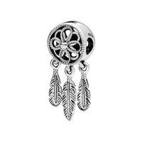 kalp kolye 925 toptan satış-100% Otantik S925 Rüya Net Şanslı Tüy Charm fit Pandora Bilezik 925 Ayar Gümüş Vintage Çiçek Kalp Kolye Boncuk