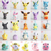 Wholesale game hooks for sale - Group buy Pocket Monster Doll Toy bulbasaur piplup eevee mew squirtle plush stuffed pendant toy with hook bikachu Stuffed Keychain