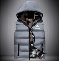 модные жилеты для мужчин оптовых-Мужская осень и зима дизайнер с капюшоном без рукавов карман на молнии жилет мужская одежда мода стиль повседневная жилет Жилет одежда