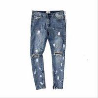 ingrosso chiusure lampo nere di jeans-New Hot Fashion Fear of God cerniere FOG skinny slim fit uomo Distressed justin bieber jeans in cotone nero jeans uomo jean