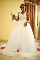 Wholesale detachable skirt lace wedding dresses resale online - African Lace Wedding Dresses Detachable Skirt Vestidos De Noiva Hot Selling New Custom V Neck Cystals Ball Gown Tulle Bridal Gowns W1020