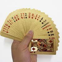 Wholesale foil cards resale online - 2pcs Gold Foil Plastic Playing Cards Game Deck Gold Foil Set Magic Card Waterproof Cards