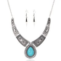 Wholesale turquoise dangling earrings resale online - Sets Silver Plated Green Turquoise Stone Water Drop Necklace Dangle Earrings for Women Charm Jewelry Sets
