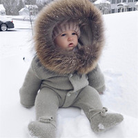 Wholesale unisex newborn outfits resale online - Newborn Baby Cute Thick Coat Baby Winter Clothes hooded Infant Jacket Girl Boy Warm Coat Kids Outfits Clothes Girls Costume