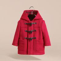 erkek çocuk başlıklı yün ceketi toptan satış-Erkek Kapşonlu Kış Katı Cepler Fermuar Dış Giyim Çocuk Tasarım Giyim Duffle Ceket Yün Kalın Sıcak Coat Noel 07