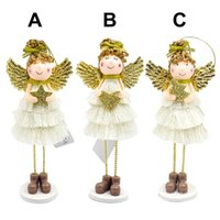 Wholesale white house christmas ornament for sale - Group buy 2019 New Christmas Doll Angel Wings Cute Angel Plush Doll Christmas Wall Decor House Ornaments New Year Gift Decorations