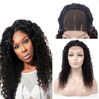 Wholesale Indian Curly Wigs for Black Women Density Virgin Human Hair x4 Closure Lace Front Wigs Indian Remy Hair Wigs Best Vendor