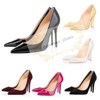 sapatos vermelhos de vestido de couro venda por atacado-2020 mulheres de Moda de luxo designer sapatos de salto alto de 8 cm 10 centímetros 12cm nus couro vermelho preto dedos apontados Bombas bottoms Vestido sapatos