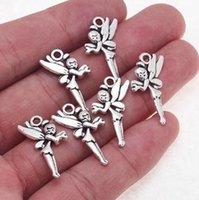 Free Ship 150Pcs Tibetan Silver Fairy Angel Charms Pendant Fit Bracelet 25x14mm
