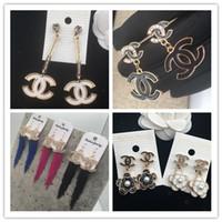 pearl toptan satış-Lüks Çift Katmanlar Küpe Marka Harfler Dangle Bırak Altın Gümüş Inci Küpe Kadınlar Için Altın Gümüş Kulak Çıtçıt Düğün Jewelr 002