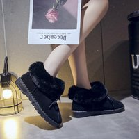 sandalias de encaje negro hasta sandalias al por mayor-Las mujeres de punta redonda calzan los zapatos de gamuza botas de nieve ocasionales con cordones salvajes botas cortas zapatos mujer sandalias con tacón de cuña scarpe negro