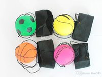 Wholesale beach ball pool resale online - Kids Fun Toys Random more Style Bouncy Fluorescent Rubber Ball Wrist Band Ball Board Game Funny Elastic Ball Training Antistress lol