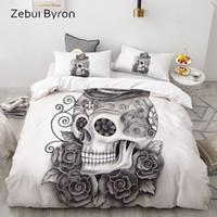 Wholesale 3d skull bedding sets resale online - 3D Duvet Cover Set Custom Bedding Sets USA AU Europe Queen King Quilt Blanket Cover Set Bed set pencil drawing Skull Men