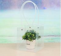 цветы для свадебной упаковки оптовых-Прозрачные квадратные пакеты с ПВХ веревкой Цветочная подарочная упаковка Торговый бутик-перевозчик Мягкая ручка ПВХ Pounch EEA156