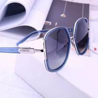 Wholesale titanium sport resale online - Best quality glass lens sun glasses Designer Fashion Gold Frame Blue Mirror Sunglasses For Men and Women UV400 Sport Sun glasses With box