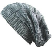Wholesale oversized beanie cap resale online - Winter Hats For Women Men Warm Casual Cotton Hat Crochet Slouchy Knit Baggy Oversized Ski Beanie Hat Female Skullies Beanies