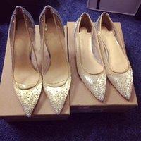 zapatos de boda de cristal bling al por mayor-Malla Rhinestone tacones altos mujeres puntiagudos tacones Crystal bling zapatos de plata zapatos de tacón alto bombas fiesta zapatos de boda