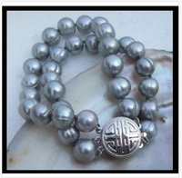 akoya perla 12mm al por mayor-2 hileras 11-12mm brazalete de perlas barrocas akoya gris del mar del sur 7.5-8 pulgadas t