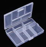 контейнер для хранения ящиков с прозрачной пластмассой оптовых-Multifunction Jewelry Organizer Storage Box 6 Grid Clear Case Plastic Transparent Sundries Storage Box little things Case Organizer Tool