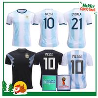shirt jersey messi achat en gros de-2019 2020 Argentine domicile à domicile Maillot MESSI DYBALA DE MARIA AGUERO HIGUAIN 19 20 sport homme homme femme kit de football maillot de football