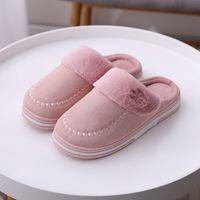 Wholesale bedroom slippers women resale online - Women Winter Home Slippers Non slip Warm Indoors Bedroom Floor Shoes Plush Slippers Women Faux Fur Slides Flip Flops