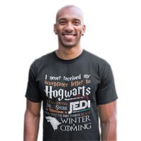 ingrosso maglietta felpata-Maglietta da gioco non ha mai ricevuto la mia lettera di Hogwarts e l'inverno sta arrivando Magliette corte Tees Plus Size S-6XL