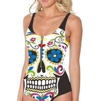 vestido com bolinha de zíper venda por atacado-Mulheres Sexy Zipper Swimsuit Um Conjunto Padrão de Natação Crânio 3D Impressão Set Bolha Vestido Swimwear Ms. Nova Beachwear
