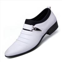 zapatos planos puntiagudos marrones al por mayor-POLALI Talla grande 38-48 Zapatos de vestir para hombre Zapatos de boda marrones Primavera Invierno Punta estrecha Zapatos planos Oxford Oxford sin cordones británicos