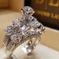 ingrosso anello di cerimonia nuziale dell'ametista-Anello classico in oro bianco 18 carati Mettere insieme l'anello di diamanti Anillos De Wedding Brand Set di cristalli di ametista per le donne Bizuteria