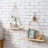 Wholesale Nordic Style Solid Wood Rope Hanging Wall Shelf Vintage Floating Storage Rack Home Decor Bedroom Living Room Kitchen Office Wall Ornaments
