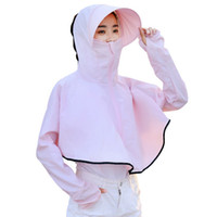Wholesale white wide brim summer hat resale online - Summer Women Sunscreen Clothing Long Sleeve Shirt Hat Face Neck Protection Cover ups Beach Outdoor riding Wear with Cap