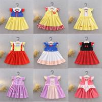 bordo yazlık elbiseler toptan satış-Çocuklar Kızlar Yaz Karikatür Elbiseler 24 + Prenses Patchwork Soyut Baskılı Pileli Elbise Çocuk Giysi Tasarımcısı Kızlar Parti Peform Kostüm 1-6 T