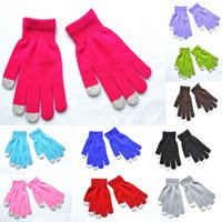 Wholesale soft winter mittens resale online - High Quality Touch Screen Full Finger Gloves Styles Candy Color Soft Winter Knitted Gloves Cute Student Mittens H924Q F