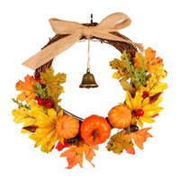 Wholesale halloween door decor resale online - Autumn Leaf Pumpkin Wreath with Bell Thanksgiving Halloween Front Door Home Decor FPing
