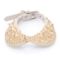 Wholesale white leather dog collars for sale - Group buy Dog Collar Bling Bling Collar Puppy Cute White Pearl Best Gift For Dog Can Adjustable For Small Large