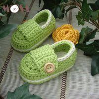 häkeln baby booties monate groihandel-Baby Slipper Häkelarbeit-Babyschuh Junge Booties Crochet Baumwollgarn Kleinkind Solidee Schuhe mit Knopf für 0-12 Monate