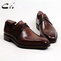 vestidos de cor marrom venda por atacado-masculinos de couro cie frete grátis Goodyear Welted Handmade Bezerro Vestido / Classic Derby Colour Light Brown Patina D141 sapatos respirável