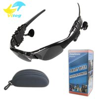 ingrosso auricolari sunglass-Vitog Occhiali da sole Auricolare Bluetooth Wireless Headphones Sport Sunglass Handsfree stereo auricolari MP3 Music Player con Package