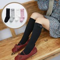 kız çorapları yaylar toptan satış-Bebek Kız Yay Çorap Tasarımcısı Kız Çorap Çocuklar Pamuk Yarım Tüp Prenses Bebek Kız Kazık Çorap 19