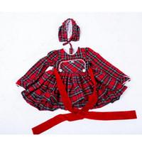 cinto vermelho bebê venda por atacado-Vestido da menina do bebê vermelho verificado crianças natal vestido vermelho rodada gola mangas compridas botão cinto chapéu 32