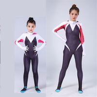 bodysuit kostüm kadınlar toptan satış-Örümcek-Adam Homecoming Gwen Stacy Cosplay Kostüm 3D Baskılı Kadın Örümcek Adam Bodysuit Örümcek Kostümleri kadın Kızlar Için