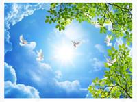 роспись зеленых листьев оптовых-3D потолок большие пользовательские фото Зенит фреска обои HD Лист зеленый Дерево облака летающий Голубь отель торговый центр Зенит потолок фреска Papel de parede