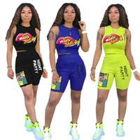 Wholesale night lip resale online - Big Lips Piece Woman Set Shorts Suit Tank Vest Crop Top Shorts Designer t shirt Short Tracksuit Fashion Outfits Night Party Clothing C7810