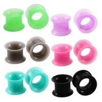 Wholesale flesh tunnel silicone for sale - Group buy 12 pair mix color Silicone Ear Tunnels Unisex Earlets Gauge Fashion Jewelry Gift Flesh Tunnel Top Quality Ear Plugs Fashion