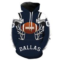 толстовки команд оптовых-Даллас Ковбой 3D толстовки новая команда печатных Hat карман куртка с длинным рукавом мужчин толстовка с капюшоном толстовки M-6XL